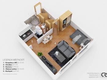 Prodej bytu 1+kk v osobním vlastnictví 35 m², Praha 8 - Bohnice