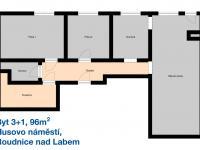 Půdorys bytu - Pronájem bytu 3+1 v osobním vlastnictví 96 m², Roudnice nad Labem