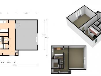 3D půdorys - Pronájem bytu 1+1 v osobním vlastnictví 49 m², Roudnice nad Labem