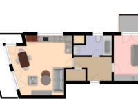 Situační nákres - Prodej bytu 2+kk v osobním vlastnictví 63 m², Praha 4 - Kamýk