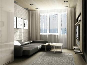 možný návrh interiéru obývacího pokoje  - Prodej bytu 2+kk v osobním vlastnictví 43 m², Praha 3 - Žižkov