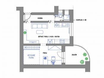 půdorys bytu  - Prodej bytu 2+kk v osobním vlastnictví 43 m², Praha 3 - Žižkov