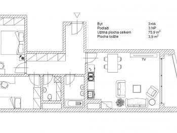 Prodej bytu 3+kk v osobním vlastnictví, 75 m2, Praha 8 - Karlín