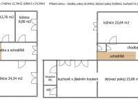 Půdorys - Prodej domu v osobním vlastnictví 160 m², Dub nad Moravou